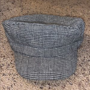 Black and white plaid conductor hat